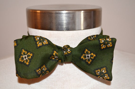 50s Vintage Bowtie, Adjustable Bow Tie, Green Bow