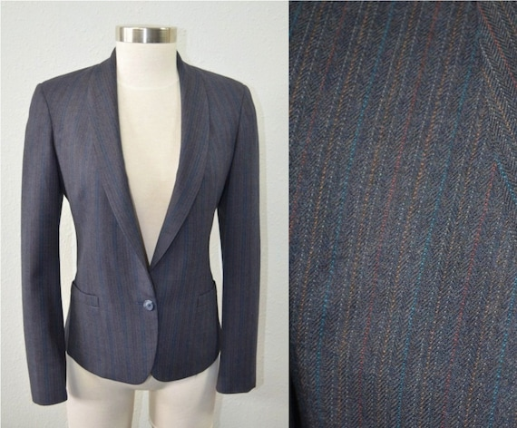 Women S Vintage Blazer Wool Blazer Charcoal Gray Jacket Etsy