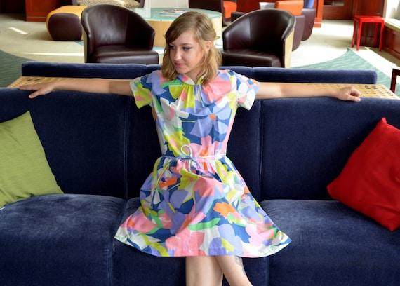 Swirl Dress, Size Small, Wrap-Around Flowered Dres