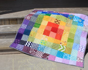 Rainbow quilt wall hanging modern colorful blanket