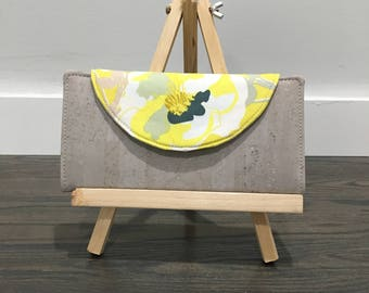 Yellow Grey Floral Cork Fabric Wallet Zipper Pouch Card Slots Fiona