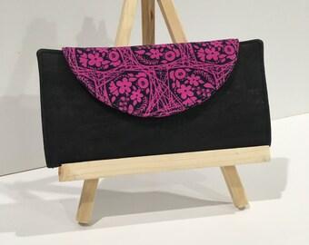 Fuschia Black Cork Fabric Wallet Zipper Pouch Card Slots Fiona