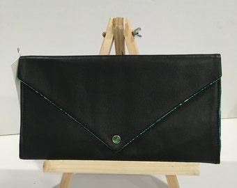 Black Lambskin and Teal Woodgrain Cotton Envelope Clutch Pearl Snap
