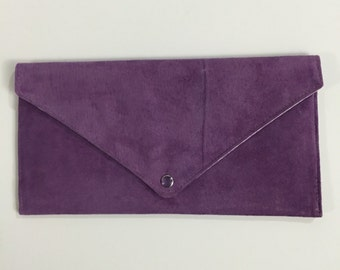 Purple Envelope Clutch Pearl Snap Suede Leather Cotton