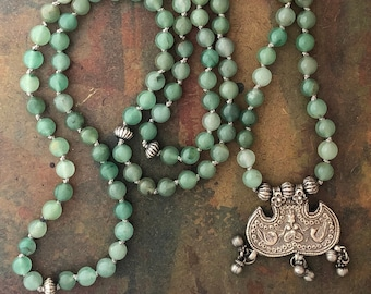 Mala Necklace 108 Mala Prayer Bead Necklace with Aventurine and Silver Ganesh Amulet