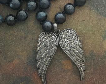 108 Blue Tiger Eye Mala with Marcasite Garuda Wings Diamond Amulet