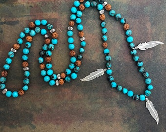 108 Mala Necklace w Turquoise Rudraksha Beads and Silver feathers