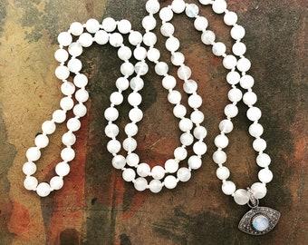 Mala Necklace 108 Mala Prayer Bead Necklace with Moonstone and Pave Diamond Evil Eye