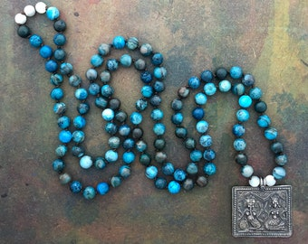 Mala Necklace with 108 Natural Chrysocolla Beads and Silver Ganesh and Lakshmi Antique Amulet