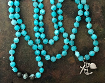 Mala Necklace with 108 Turquoise Amazonite and Victorian Faith Hope Love Charm