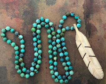 Mala Necklace 108 Mala Necklace with New Mexican Turquoise and Vintage Bone Feather