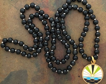 Mala Necklace with 108 Rainbow Obsidian and Enamel Universe Amulet