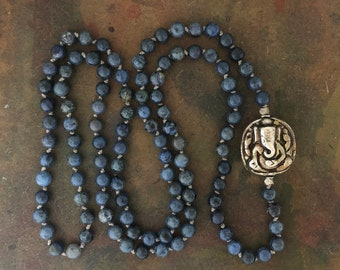 Mala Necklace 108 Mala Prayer Bead Necklace with Dumortierite and Silver Ganesh Amulet