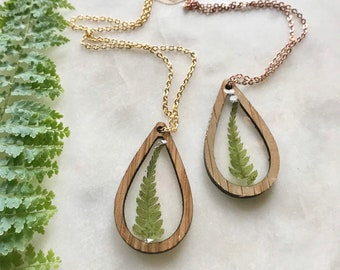 fern drop pendant necklace   greenery in resin   wooden jewelry   pacific northwest   nature lover