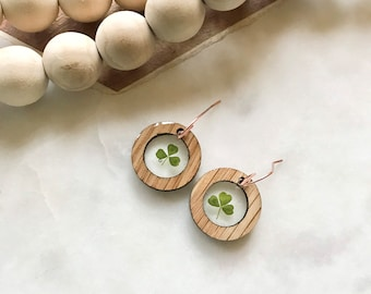 cute clover earrings   resin + wood jewelry   pacific northwest   nature lover   lucky