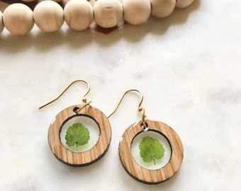 delicate greenery in white oak circlets   wood jewelry   resin earrings   pacific northwest inspired   boho   nature lover