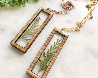 evergreen in resin necklace   white oak   wood jewelry