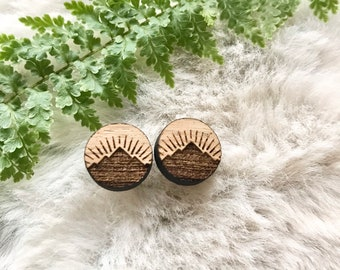 raw wood mountain studs   wood jewelry   pacific northwest inspired   nature lover   wanderlust