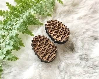 large pinecone post earrings   wood studs   pacific northwest   nature lover