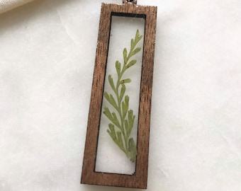 resin + wood   evergreen necklace   whimsy + woodsy   dried flower jewelry   pnw   wooden jewelry   boho   walnut