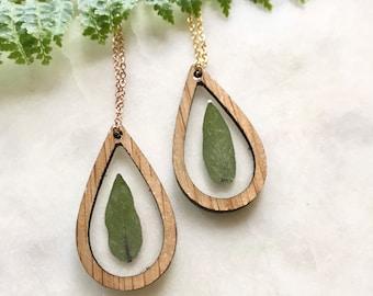 sage leaves in white oak   teardrop pendant necklace   wood + resin jewelry