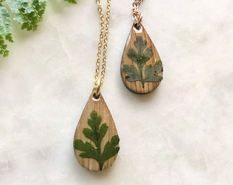 pressed leaves in resin    teardrop necklace   white oak   wood jewelry   pacific northwest inspired