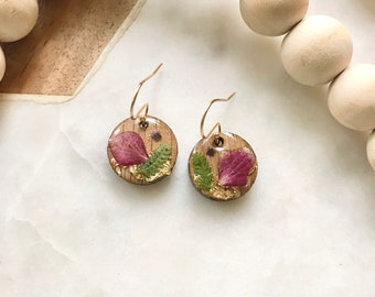 pressed flowers in resin   wood + resin earrings   hydrangea, gold leaf, ferns, lavender   pacific northwest   nature lover   flower child