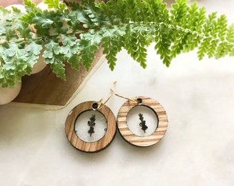 lavender sprig earrings   wood + resin jewelry   dried flower jewelry   potpourri   nature lover