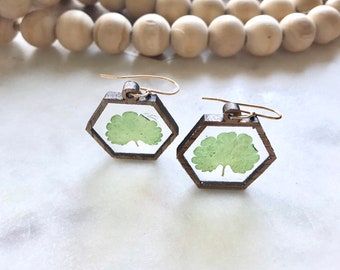 delicate leaf earrings   resin + wood   whimsy + woodsy   dried flower jewelry   pacific northwest   geometric