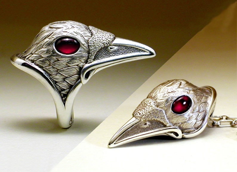 White Spirit Raven Set - Ring & Pendant together