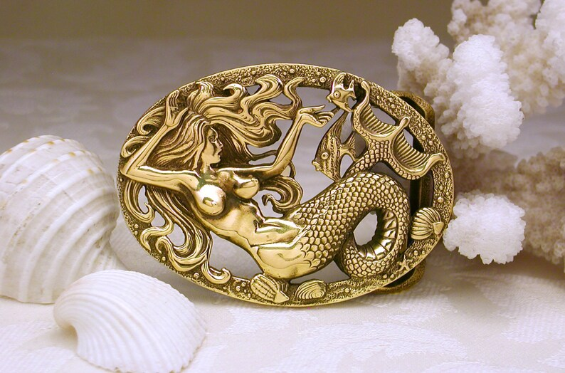 ec00272b703d Sirena hebilla de correa bronce bronce de joyero hebilla