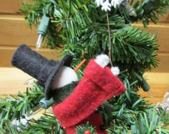 Snowman Christmas Ornament - Clothespin, Felt - Catch a falling snowflake