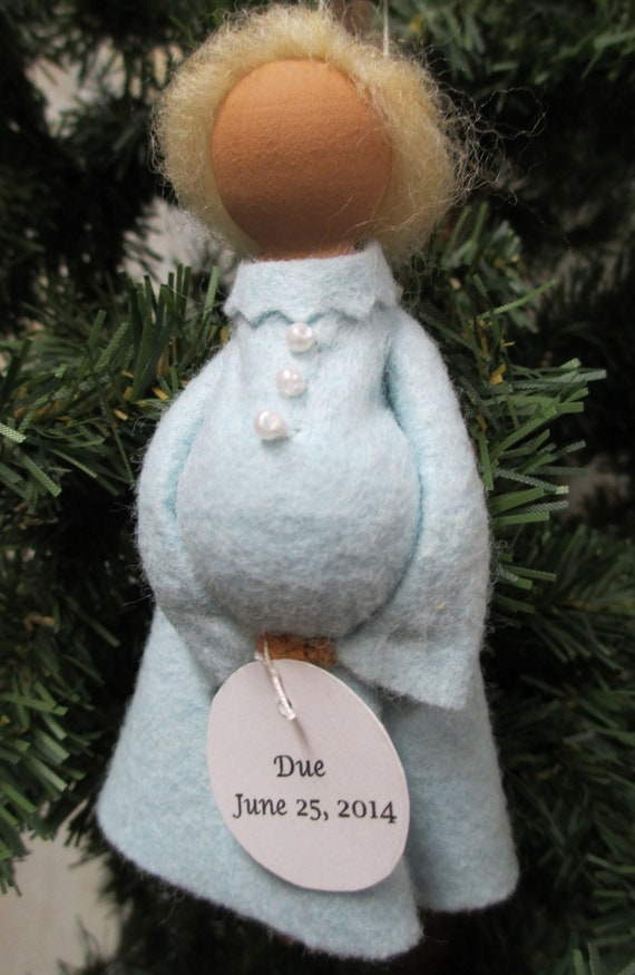 image 0 - Expectant Mother Christmas Ornament, Baby On The Way, Mother To Be, Baby  Shower, Personalized Ornament, Peg Doll, Clothespin Ornament