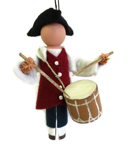 Christmas Drummer.Revolutionary Drummer Christmas Ornament Clothespin Ornament Independence Day Colonial Peg Doll American Revolution Ornament Exchange