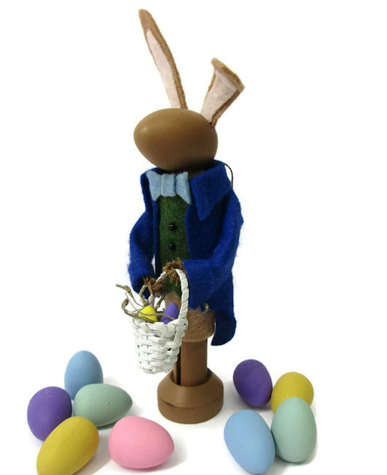 Easter Rabbit Easter Decor Easter Bunny Ornament Brown Bunny Spring Decor Wool Felt Dressed Up Bunny Peg Doll Clothespin Ornament