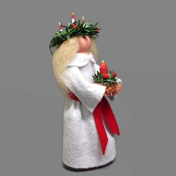 Handmade Needle Felted Ornament St Lucia Needle Felted Figure St Lucia Felted Decoration Christmas Decoration