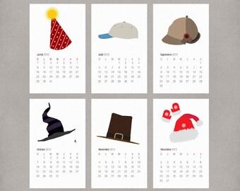 2017 French Wall Calendar Printable PDF DIY - Illustrated Holiday and Seasonal Hats - Gift for Christmas or Holidays