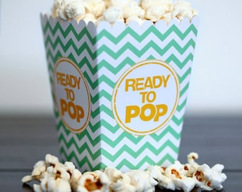Choose Your Color - Ready to Pop Baby Shower About to Pop Mini Chevron Popcorn Box Party Favor Printable  - DIY Party Ready to Pop Corn Box