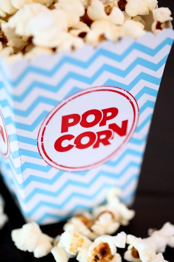 8 Popcorn Cajas Rojo Y Blanco Hollywood Party película Fiesta Retro