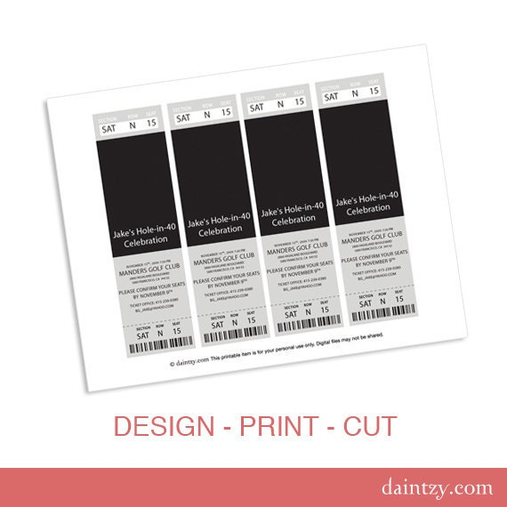 event ticket photo invitation template printable diy make