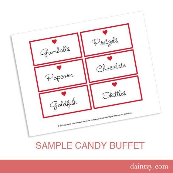 Valentine Candy Buffet Etiketten ausdruckbare Vorlage DIY | Etsy