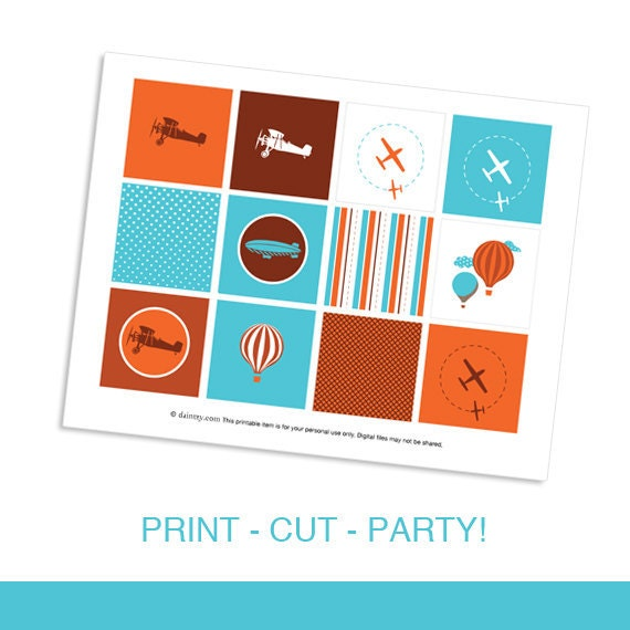 Come Fly with Me Boys Birthday Party Transportation Airplane Theme by daintzy Cupcake Flag Toppers
