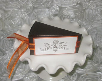 Cake Slice Favor Box, Autum Wedding Favor Box, Wedding Cake Slice Favor Box, Cake Favor Box