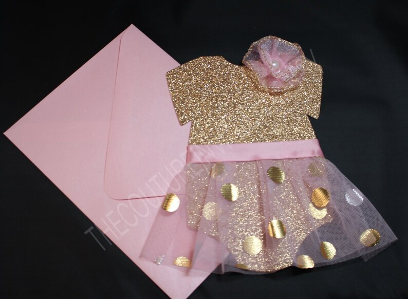 b6bfd29f5264 Pink and Gold Tutu 1st Birthday Invite Pink   Gold Dot Tutu