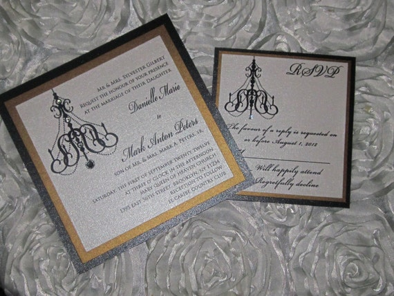 Chandelier Wedding Invitations: Chandelier Wedding Invitation Black And Gold Wedding