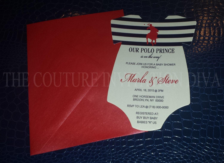 Polo Prince Baby Shower Invitation Polo Prince Onesie Baby | Etsy