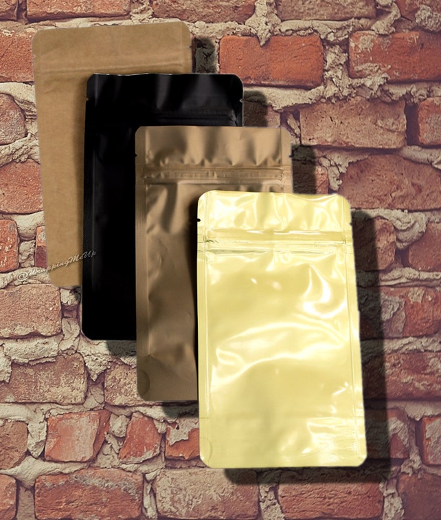 20 -2 oz. ~Bronze/Gold/Black/Natural Combo Coffee/Tea Bags, Stand Up Pouch Bags, Food Safe Resealable Bags, Foil Lined Resealable Packaging