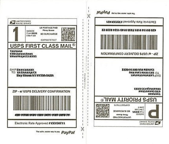 25 Sheets SHIPPING Labels 50 Half-Page Shipping Labels For