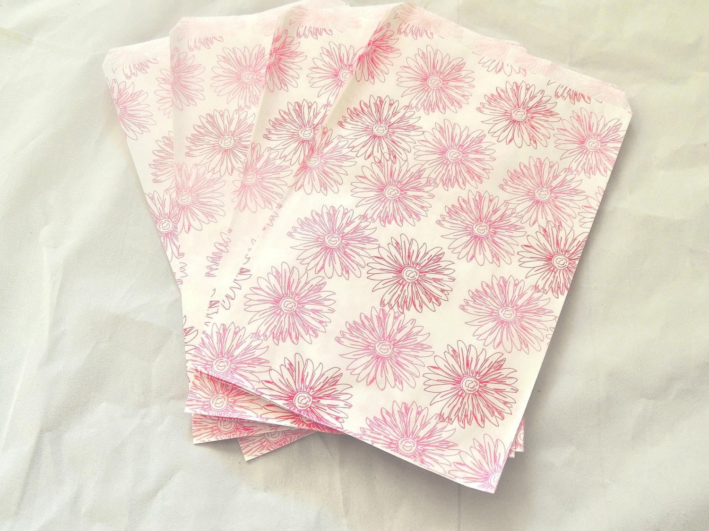100pcs 5x7 Pink Flower Print Merchandise Bags Pink Flower Paper