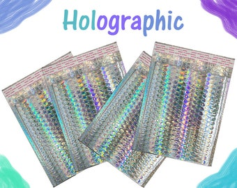 50 Pack -8.5x12 Holographic METALLIC MAILER, Self Seal Padded Shipping Envelopes, Size #2 Business Padded Mailers Heavy Style Peel n seal